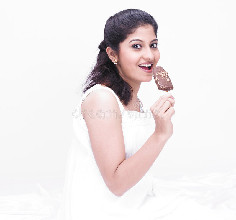 Woman Enjoying Her Ice Cream Stock Photo