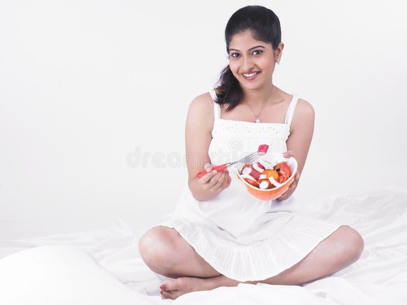 Download Woman enjoying her salad stock image. Image of beautiful - 7387515