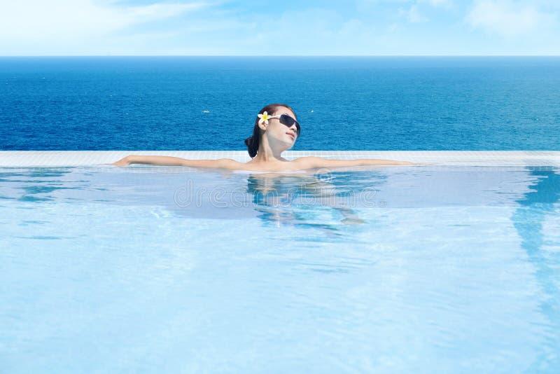 Download Woman Enjoying Infinity Pool 1 Stock Photo - Image: 25977206