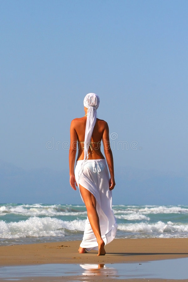 Woman enjoying the Ionian sea stock image
