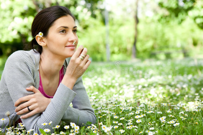 Woman enjoying in nature royalty free stock images