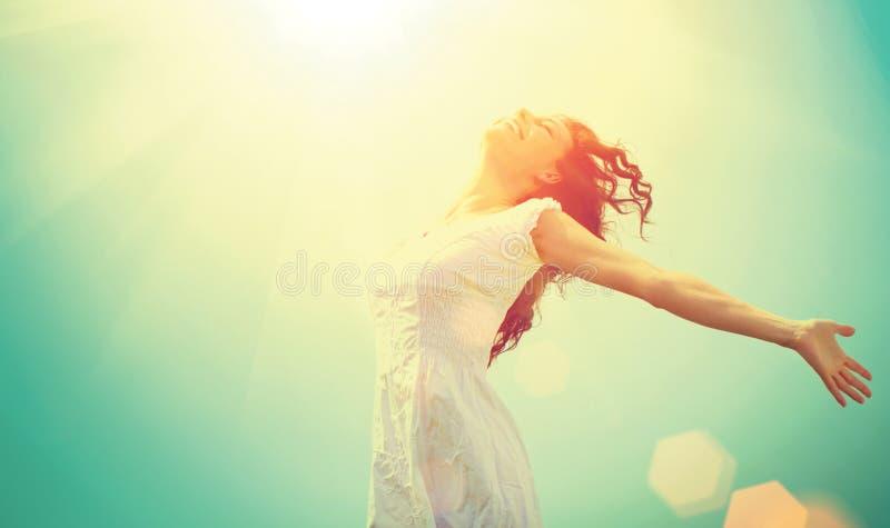 Woman Enjoying Nature. Free Happy Woman Enjoying Nature. Beauty Girl Outdoor