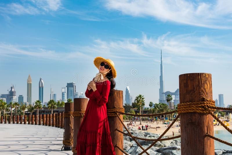 Woman with panoramic view of Dubai downtown royalty free stock photo