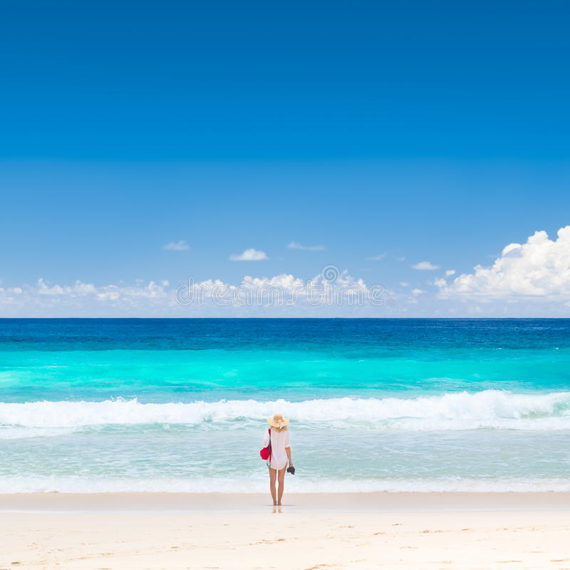 Woman Enjoying At Beach Stock Image Image Of Pleasure: Mahe Seychelles Stock Image. Image Of Travel, Outdoor