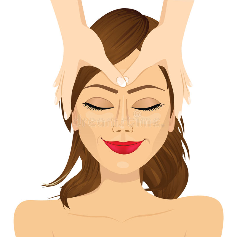 Woman enjoying relaxing facial massage treatment. Young brunette woman enjoying relaxing facial massage treatment on white background vector illustration