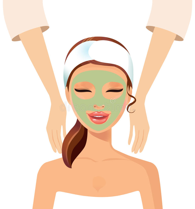 Woman enjoying relaxing wellness massage treatment concept stock illustration