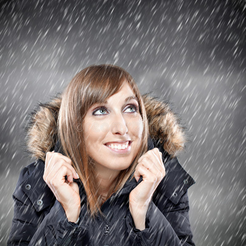 Download Woman Enjoying Snow In Winter Stock Image - Image: 27240071