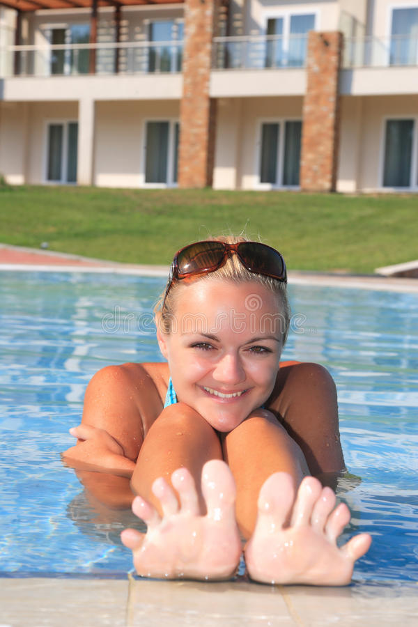 Download Woman Enjoying A Swimming Pool Stock Image - Image: 10663647