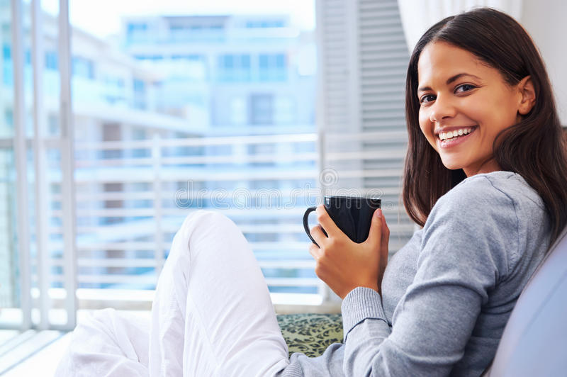 Fresh coffee woman stock image