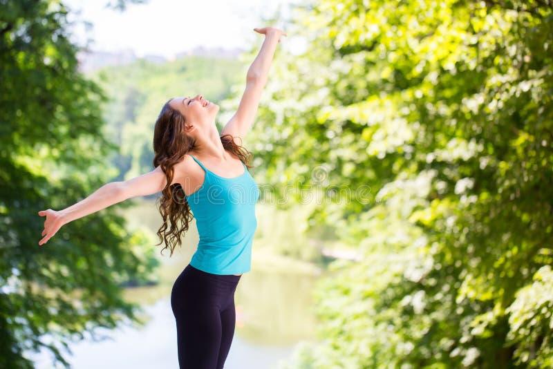 Woman enjoys outdoors. Woman enjoys the outdoors. Healthy lifestyle stock photos