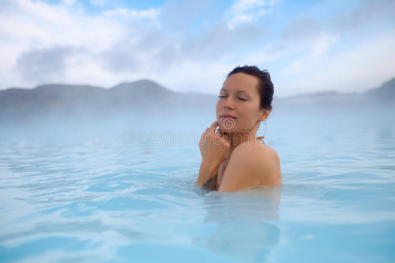Download Woman Enjoys Spa In Geothermal Hot Spring Stock Photo - Image: 93996012
