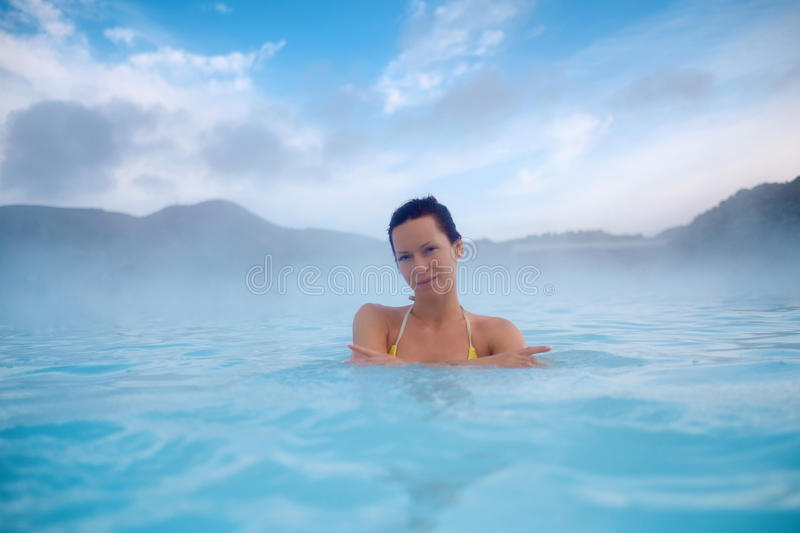 Download Woman Enjoys Spa In Geothermal Hot Spring Stock Photo - Image: 93996052