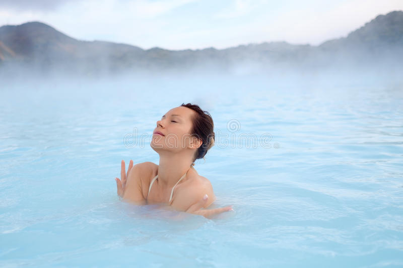 Download Woman Enjoys Spa In Geothermal Hot Spring Stock Photo - Image: 93996092