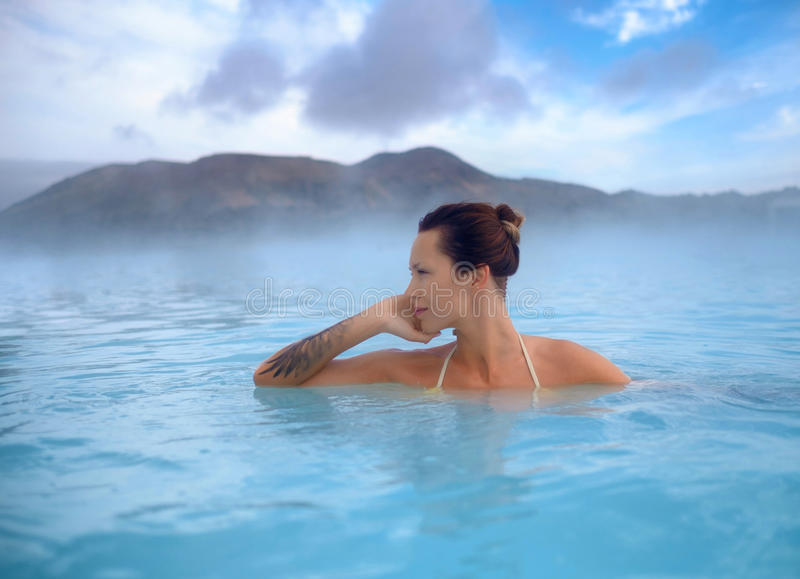 Download Woman Enjoys Spa In Geothermal Hot Spring Stock Image - Image of tourist, heat: 93996277