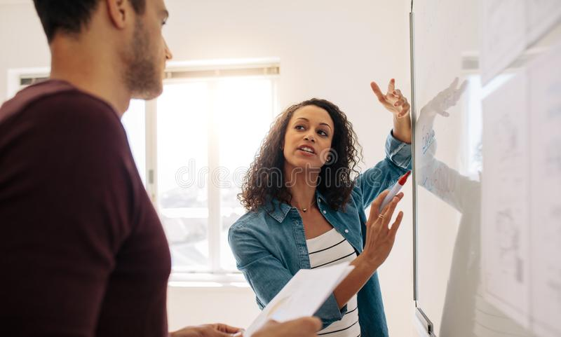 Businesswoman explaining business ideas on whiteboard in office royalty free stock photos