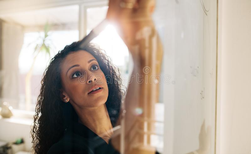 Woman entrepreneur writing on glass board in office stock image