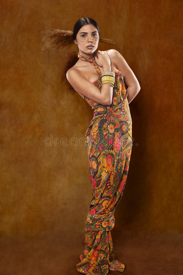 Woman in ethnic dress royalty free stock images