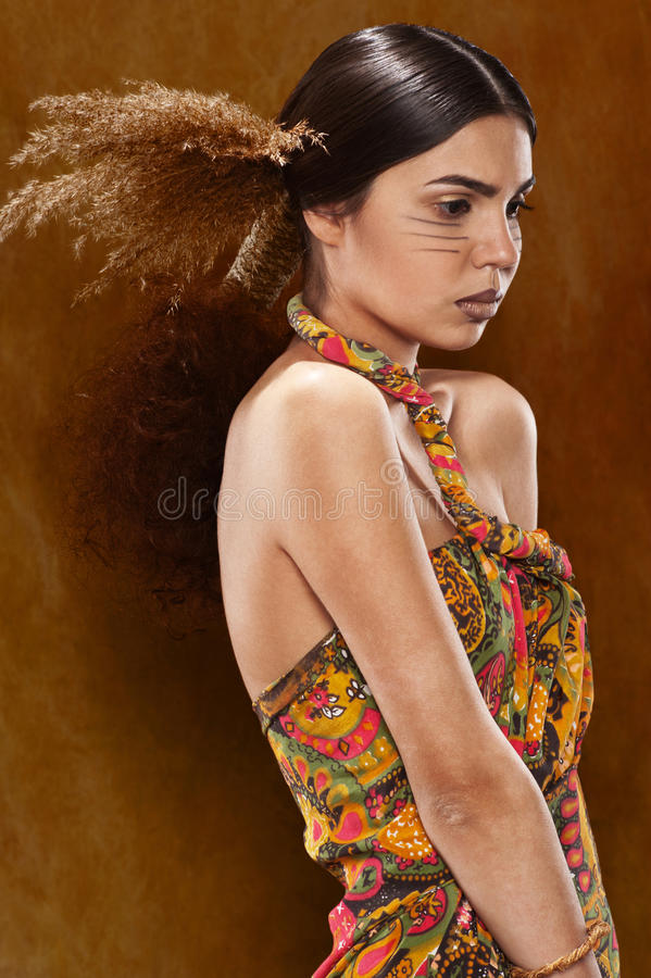 Woman in ethnic dress royalty free stock photos