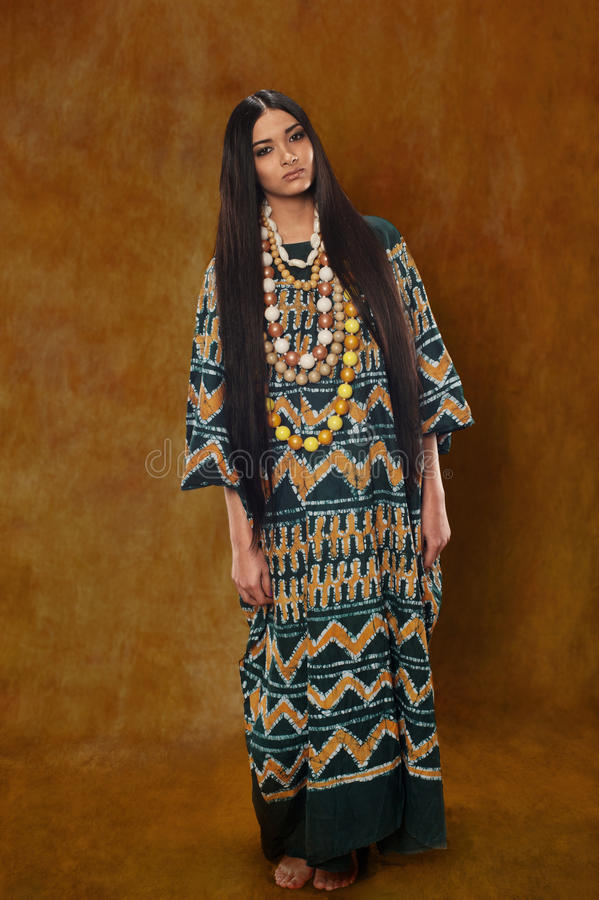 Woman in ethnic dress royalty free stock photography