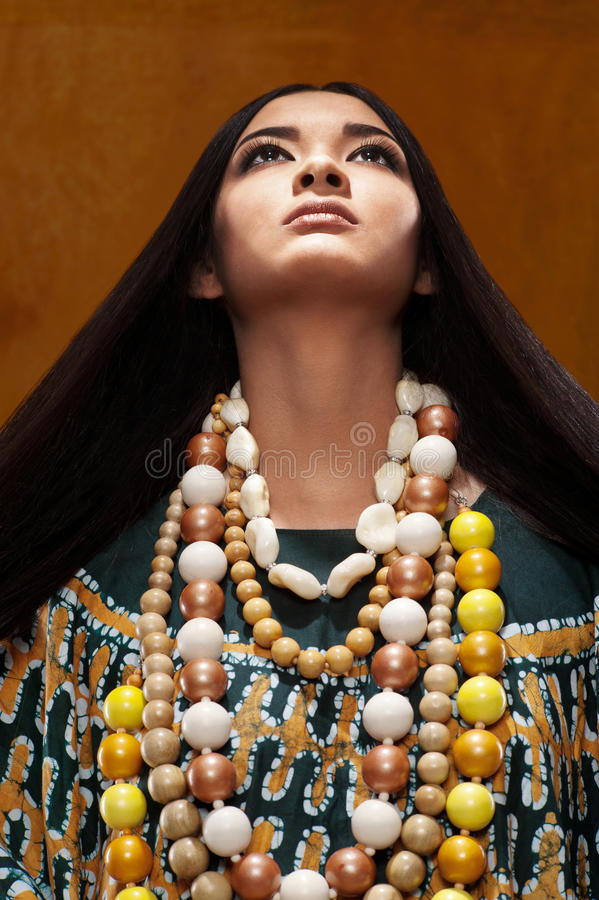 Woman in ethnic dress stock image