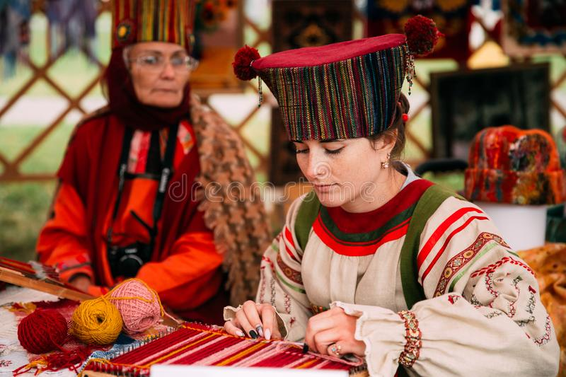 Woman In Ethnic Traditional Folks National Russian Costume Dress stock photos