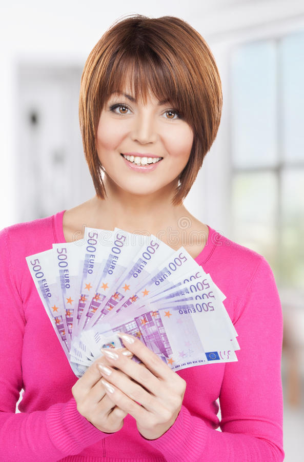 Download Woman With Euro Cash Money Royalty Free Stock Photos - Image: 38340698