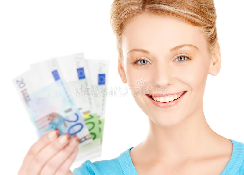 Woman with euro cash money. Picture of lovely woman with euro cash money royalty free stock photography