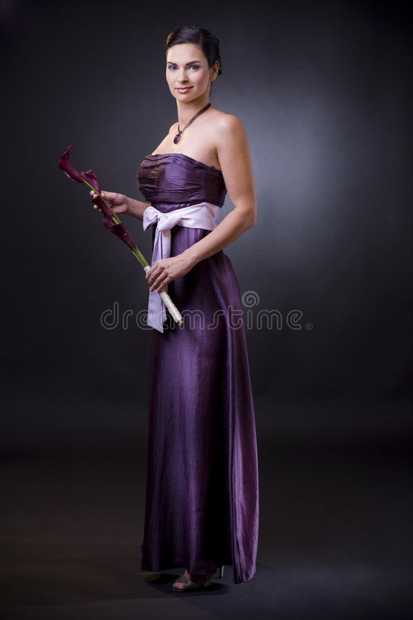 Woman in evening dress stock photography