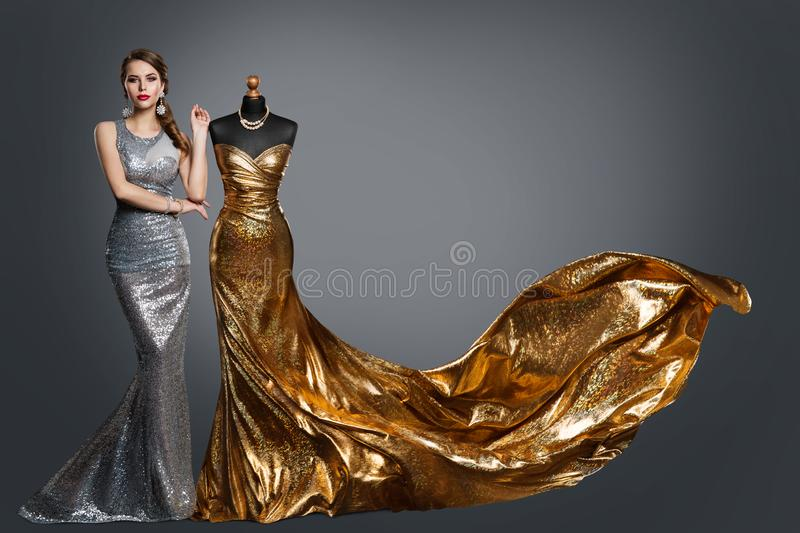 Woman Evening Dress, Fashion Gown on Tailor Dummy, Elegant Gold Silver Clothes Models royalty free stock photography