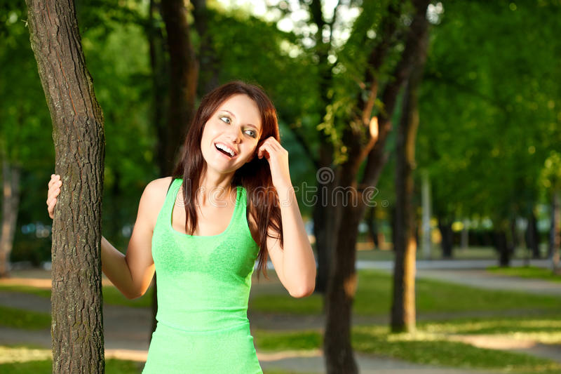 Download Woman In The Evening Summer Park Stock Image - Image of beautiful, face: 22050115