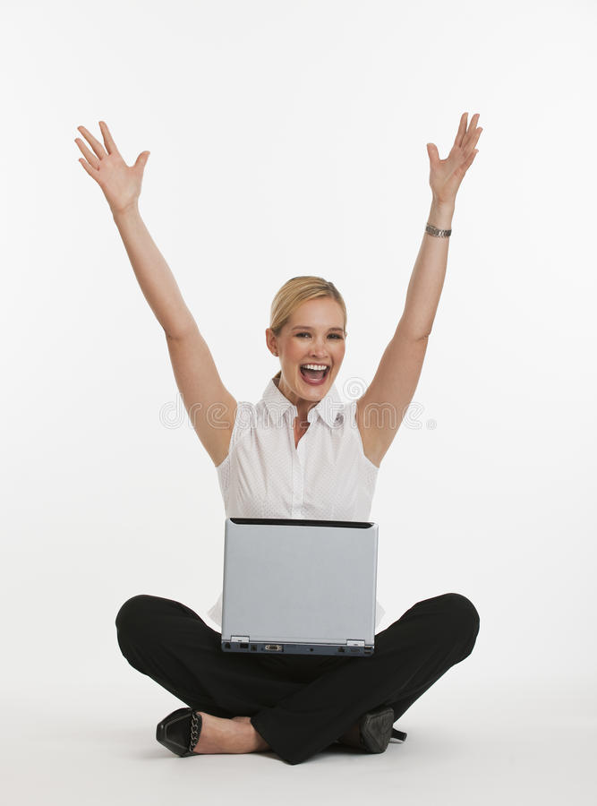 Woman Excited About Being On Computer Royalty Free Stock Photo