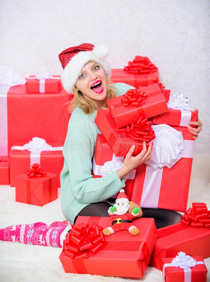 Woman excited blonde hold gift box with bow. Perfect gift for girlfriend or wife. Opening christmas gift. Santa bring. Her gift that she always wanted. Girl royalty free stock images