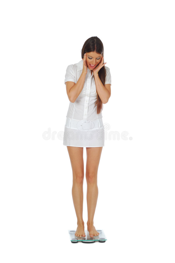 Woman excited about weight loss royalty free stock photos
