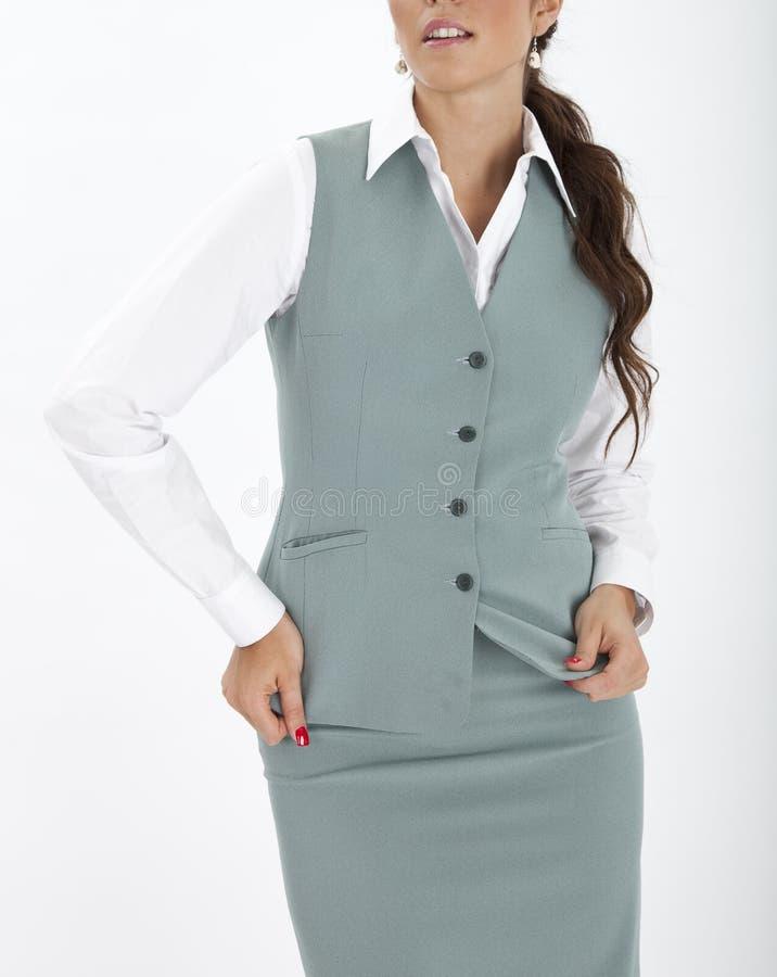 Woman in an executive uniform. Beautiful woman in an executive uniform royalty free stock image