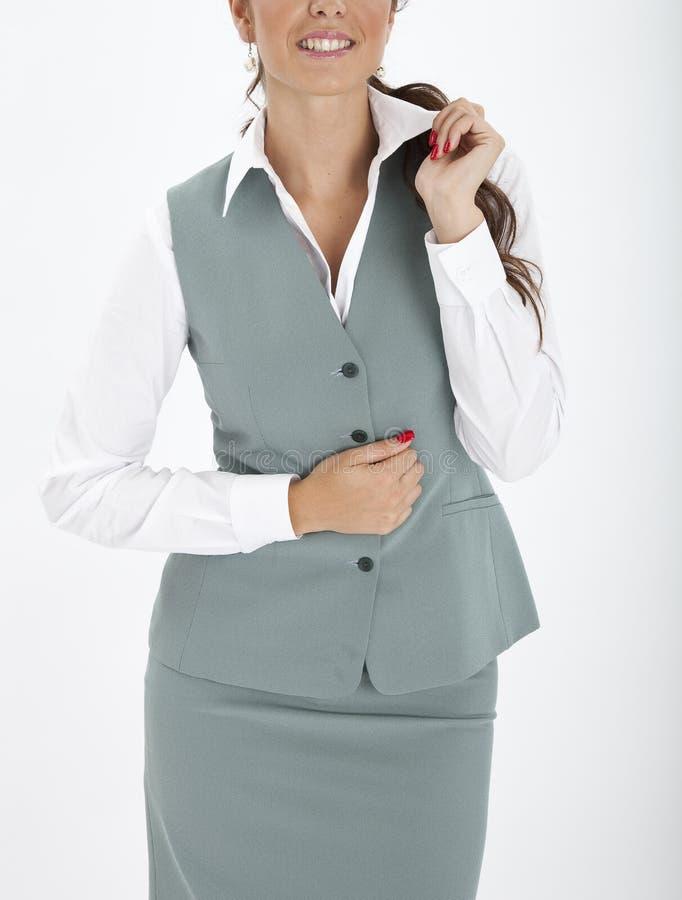 Woman in an executive uniform. Beautiful woman in an executive uniform stock photography