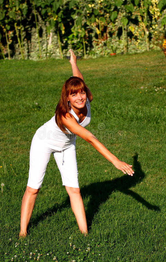 Download Woman exercise stock image. Image of people, green, park - 20870099