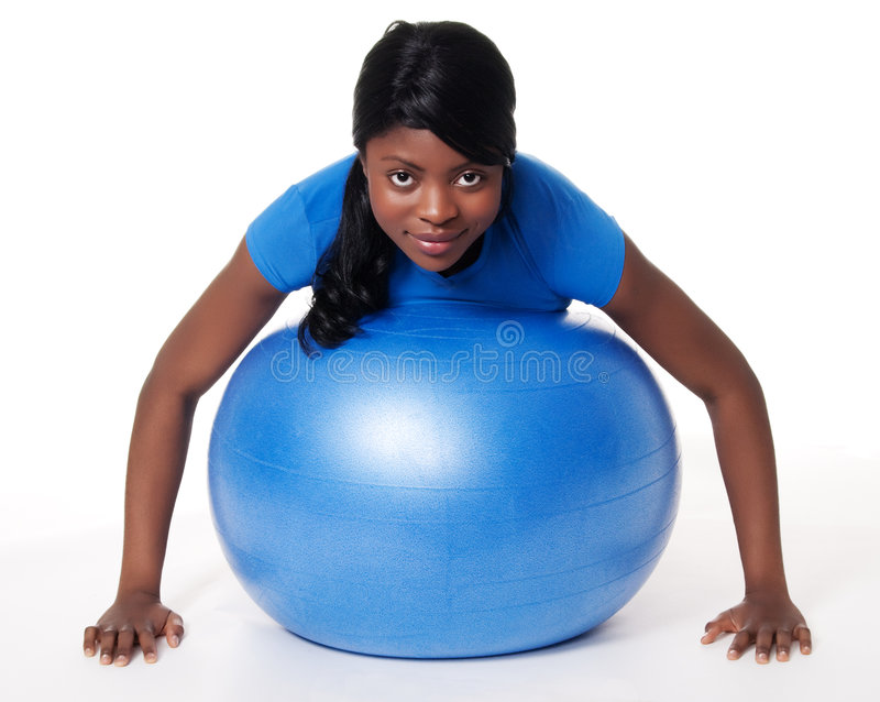 Download Woman with exercise ball stock photo. Image of long, fitness - 8451748