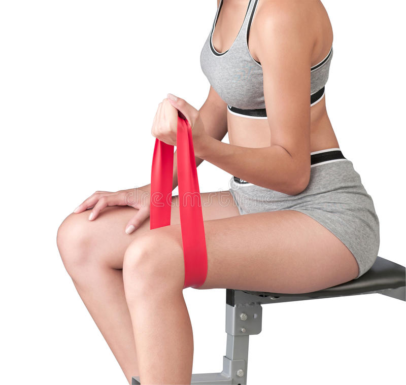 woman exercise with elastic fitness band