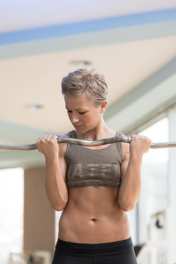 Download Woman Exercising Biceps With Barbell In Gym Stock Photo - Image: 39148777