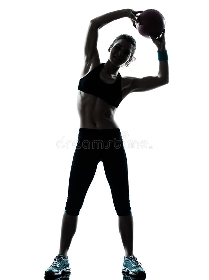 Download Woman Exercising Fitness Ball Workout  Workout Stock Image - Image of cutout, cute: 25322359