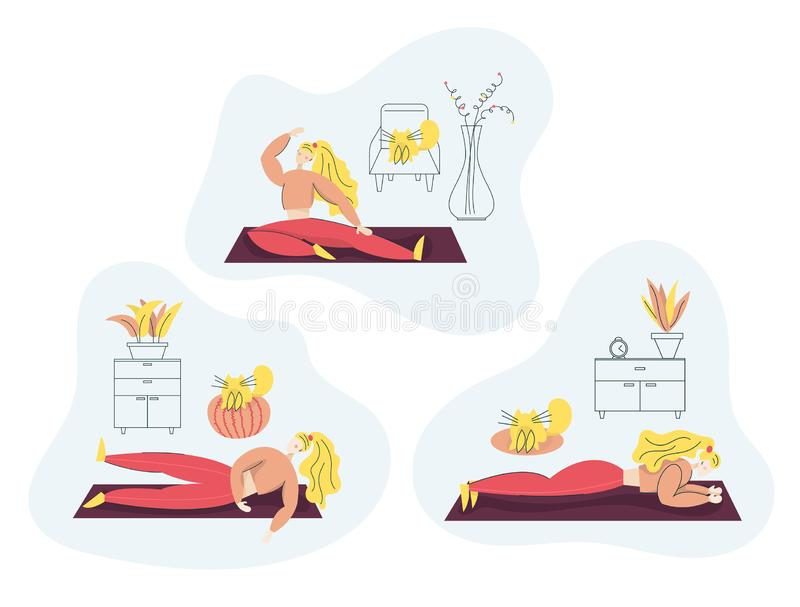 Girl exercising Fitness at Home. Sport Healthy lifestyle concept set with Fit Woman Doing Pilates, Yoga, Training. Isolated flat. Woman exercising Fitness at stock illustration