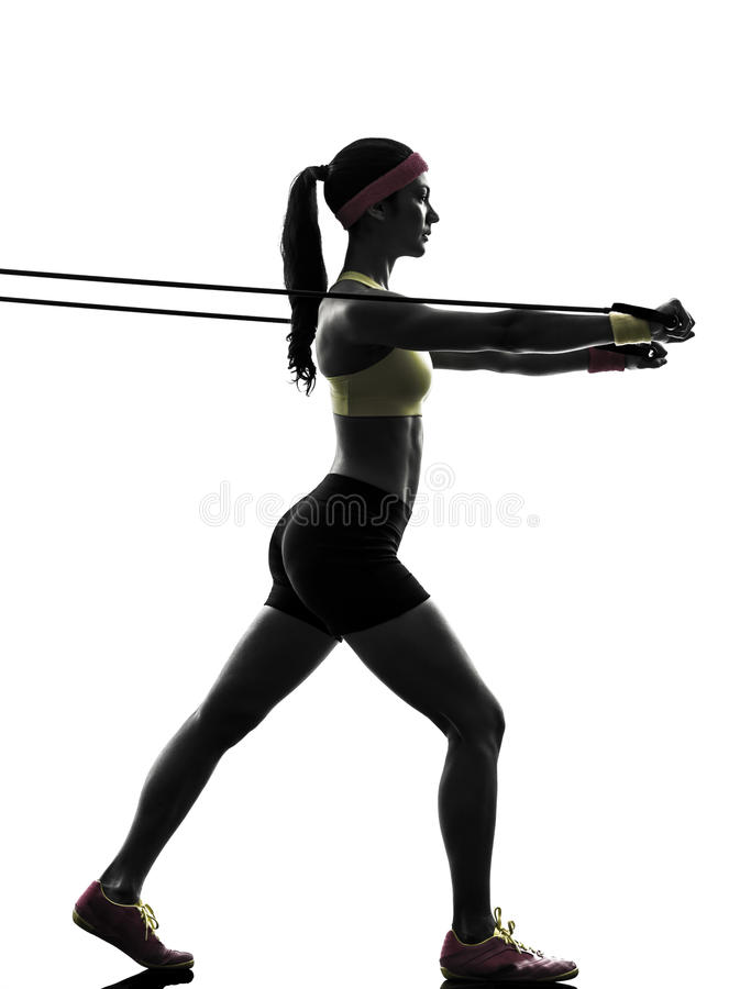 Free Woman Exercising Fitness Workout Resistance Bands Silhouette Royalty Free Stock Photos - 32441008