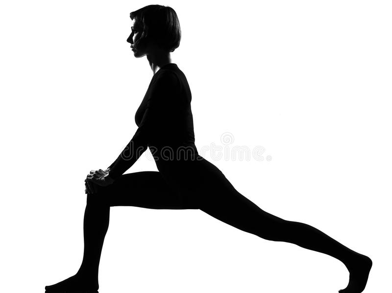 Woman exercising fitness yoga stretching royalty free stock photography