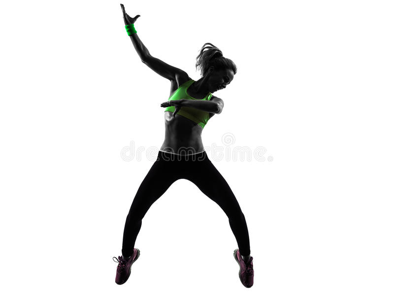 Woman exercising fitness zumba dancing jumping silhouette royalty free stock image