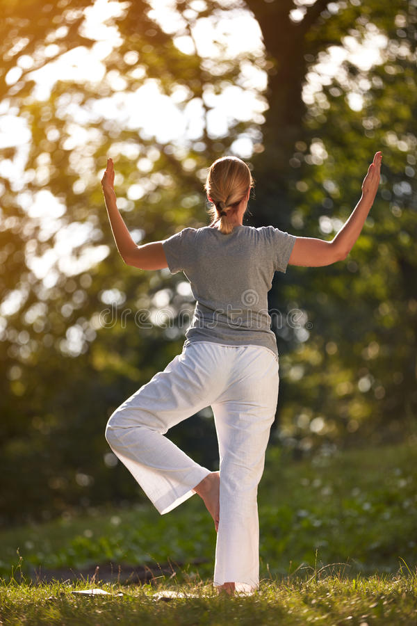 Woman exercising in forest stock photography