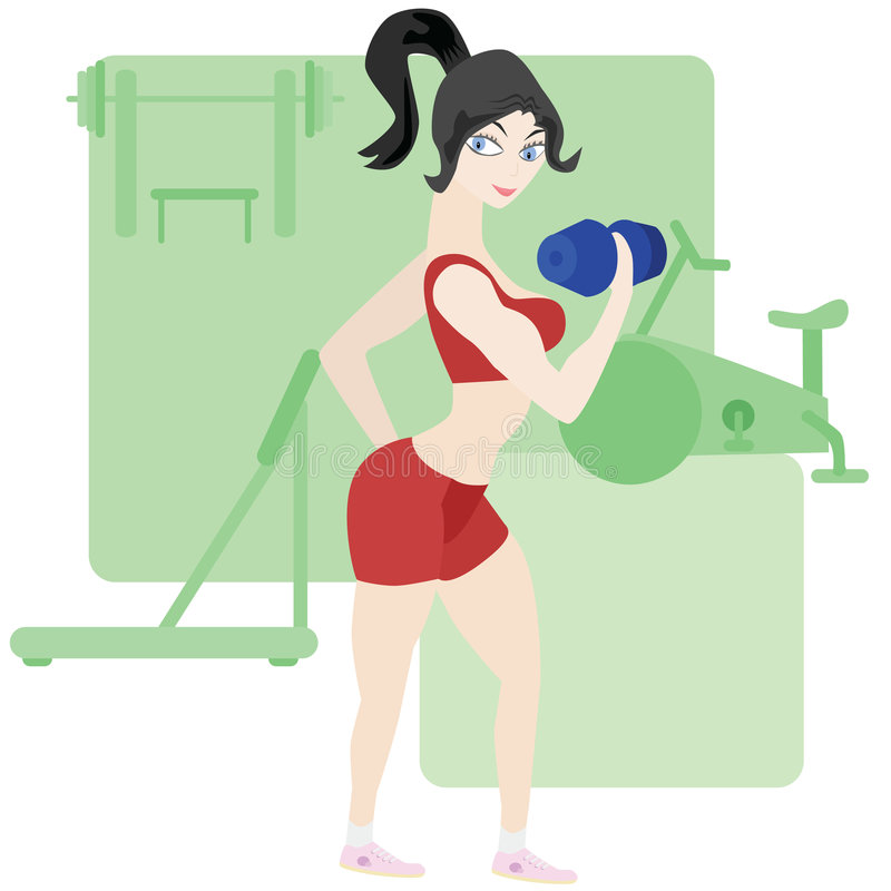 Woman exercising at the gym stock illustration