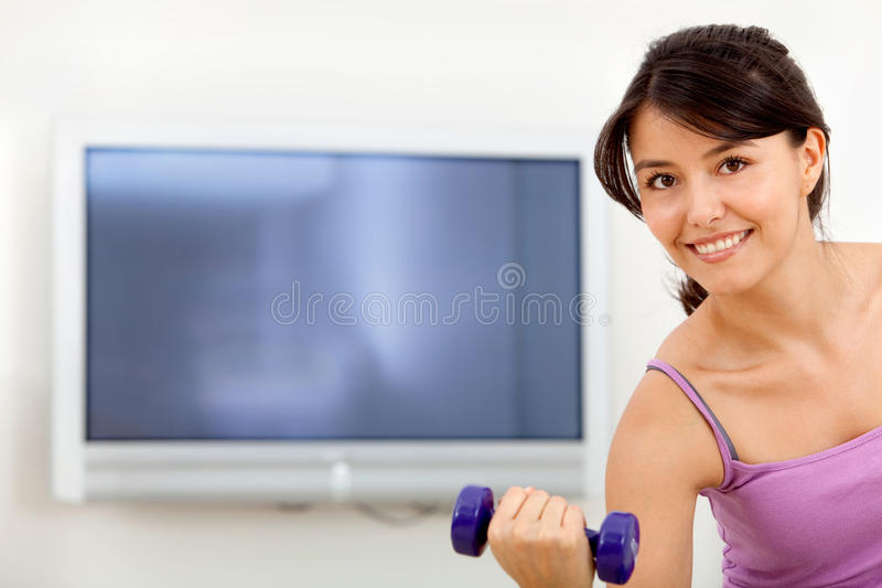 Download Woman exercising at home stock image. Image of training - 15726187