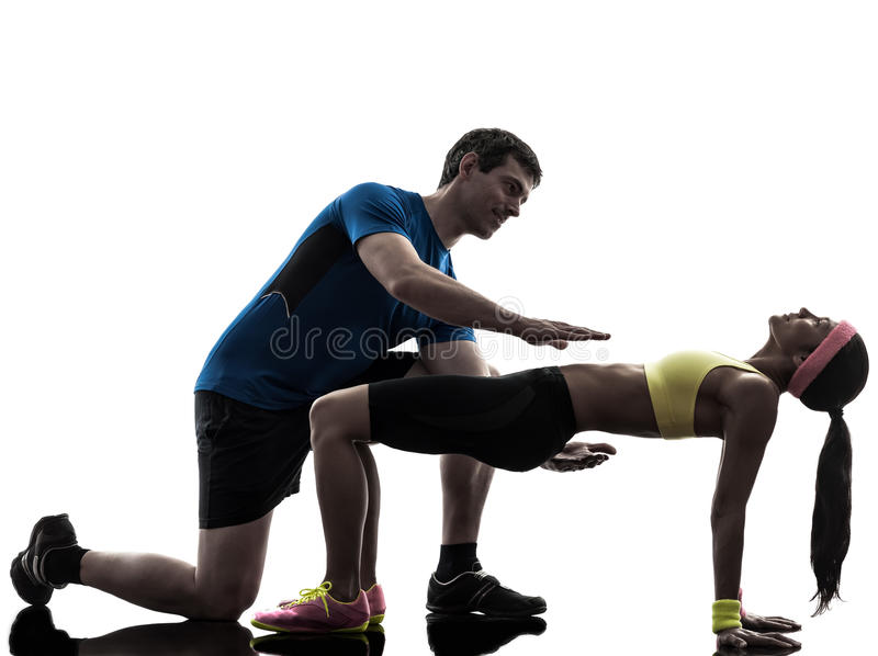 Woman exercising plank position fitness workout wi stock photos