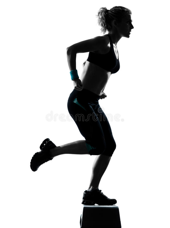 Download Woman Exercising Step Aerobics Stock Photo - Image of cute, studio: 25040860