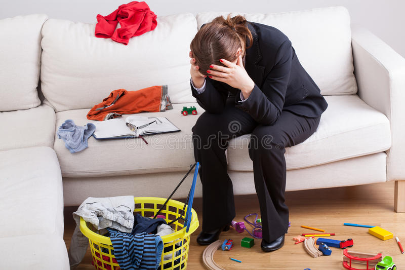 Woman exhausted her life stock image